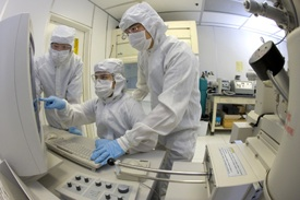 nanotechnologists in clean room